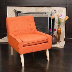 Retro Orange Fabric Accent Chair w/ Button Tufted Backrest in Home & Garden, Furniture, Chairs | eBay