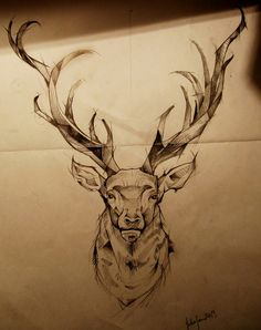 Tattoo sketches for men illustration awesome 39 ideas Deer Skull Tattoos, Stag Tattoo, Deer Skulls, Head Tattoos, Animal Tattoos, Sleeve Tattoos, Deer Antlers, Tatoos, Cervo Tattoo