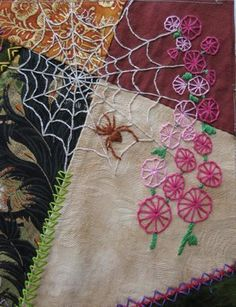 I ❤ crazy quilting . . .   Greetings from the Shady Grove: Crazy Quilt Update. Great spider web!