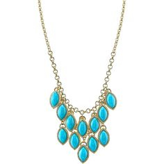 1928 Jewelry Gold-Tone Blue Stone Navette Bib Necklace ($23) ❤ liked on Polyvore featuring jewelry, necklaces, long chain necklace, blue jewelry, goldtone jewelry, 1928 necklace and blue stone necklace