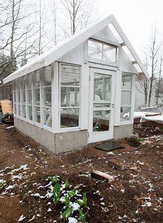 EKHOLMIN SAVUSTAMO: Vanhoista ikkunoista rakennettu kasvihuone