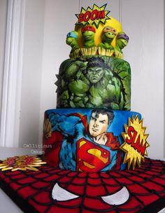 Superhero Birthday Cake - http://cakesdecor.com/cakes/248451-superhero-birthday-cake
