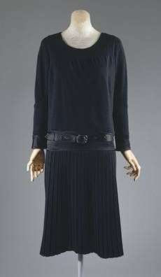 "Chanel wool jersey day ensemble 1927, an instance of the famous ""little black dress"""