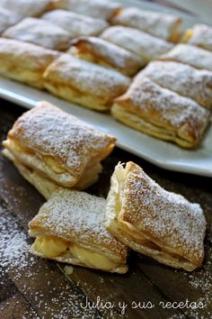 Do you have a sweet tooth? If so, this easy Miguelitos recipe will scratch that itch for you. I have not included a recipe for the puff pastry because, well because life's too damn short! Chilean Desserts, Chilean Recipes, Frozen Desserts, Sweet Desserts, Easy Desserts, Baking Recipes, Cake Recipes, Dessert Recipes, Home Baking
