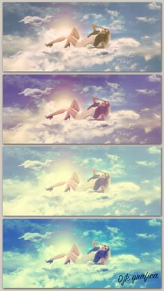 Girl in the clouds, manipulation with vintage effect