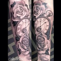 Black and Gray Half Sleeve Tattoos Clocks.