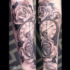 Black and Gray Half Sleeve Tattoos Clocks.