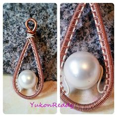 Floating pearl pendant - Jewelry creation by Becca Ross Copper Jewelry, Pearl Jewelry, Wire Jewelry, Pendant Jewelry, Pearl Earrings, Wire Weaving, Pearl Pendant, Jewelry Making, Jewels