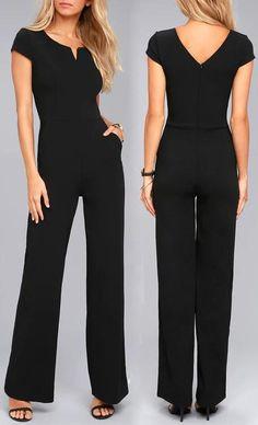 Black Daily Fashion Short Sleeve Wide Leg Jumpsuit #jumpsuits