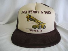 Vtg John Wendt & Sons Snapback All Foam Truckers Hat Baseball Cap Wabash Indiana #QualityCapsByGeorge #TruckerHat