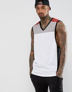 ASOS Longline Vest With Mesh Panels And V Neck
