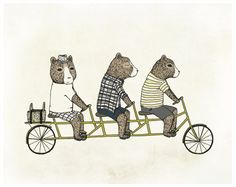 Hey, I found this really awesome Etsy listing at http://www.etsy.com/listing/154351586/3-bears-on-a-bicycle-illustration-print