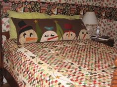 Love this snowman pillow to accent quilt and hide pillows