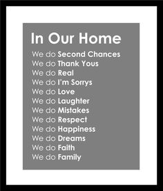 Subway Art In Our Home Family Rules Print  11x14 by karimachal, $18.00