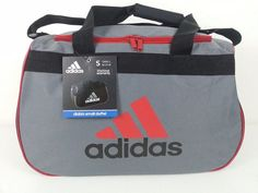 NWT Adidas Diablo Small Duffel Bag Gray/Black/Red Sport Gym Travel Carry On Expa #adidas #ebay #adidas #DiabloSmallDuffelBag #SportGymGrayBlackRed