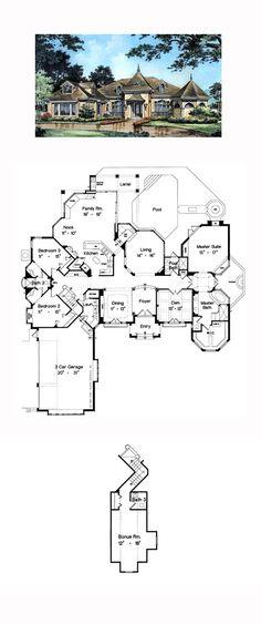 House Plan 63067 - Mediterranean, Victorian Style House Plan with 3064 Sq Ft, 4 Bed, 4 Bath, 3 Car Garage Home Building Design, Home Design Plans, Building A House, Victorian House Plans, Victorian Homes, Dream House Plans, House Floor Plans, Floor Design, House Design