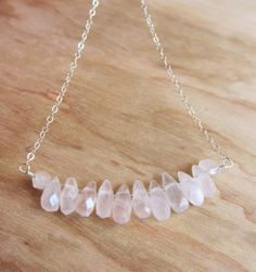 Rose Quartz and Sterling Silver Necklace (also available in 14k gold) by TurquoiseMagnolias, $24.00