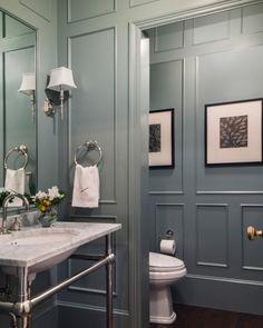Powder Room, Colonial Style Custom Home in Atherto. - - Powder Room, Colonial Style Custom Home in Atherto. Bathroom Design Small, Bathroom Interior Design, Bathroom Designs, Bathroom Ideas, Bath Design, Bath Ideas, Small Bathroom Paint, Bath Paint, Restroom Design