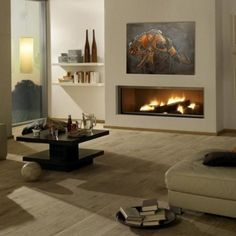 Design 4 Fireplace: Design Gas or Ethanol Fireplace Bioethanol Fireplace, Modern Fireplace, Fireplace Wall, Living Room With Fireplace, Fireplace Design, Indoor Gas Fireplace, Condo Living, Home And Living, Herd