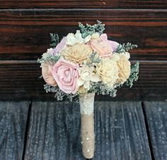 Romantic Wedding Bouquet -Small Natural Sola Flower Bridal Bridesmaid Bouquet, Keepsake Wood Bouquet, Shabby Chic Rustic Wedding