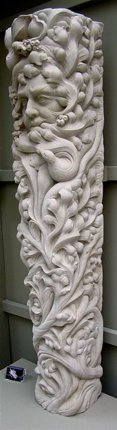 Woodkirk sandstone Column Pillar Columnar sculpture statue statuary #sculpture by #sculptor Thomas J. Nicholls titled: 'Greenman' #art