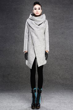 Modern Wool Gray Coat with Asymmetrical Front Zipper and Large Cowl Neck Collar - Women Autumn Winter Outerwear-001 on Etsy, $168.00