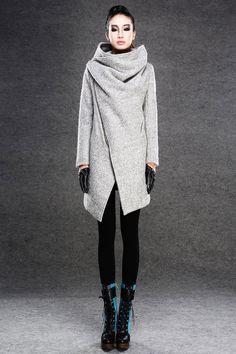 Modern Wool Gray Coat with Asymmetrical Front Zipper by YL1dress
