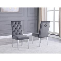 Best Quality Furniture Button Tufted Back Side Chairs with Stainless Steel Legs (Grey), Gray Furniture Deals, Bar Furniture, Quality Furniture, Dining Room Bar, Dining Area, Parsons Chairs, Chair Types, Chair Upholstery, Tufting Buttons