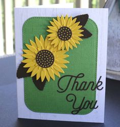 Sunflower Thank You Card  Greeting Card  Floral by PaperKayper
