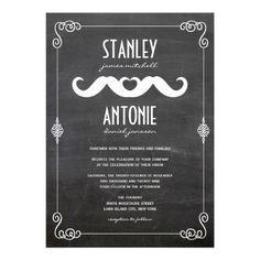 Moustache Mustache Love Vintage Chalkboard Gay Wedding Custom Invitation by fatfatin
