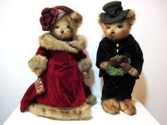 """VICTORIA ROSE & CHARLES are all dressed for Christmas celebration! ~ Victorian Christmas Bears, Bearington Collection.  Victoria, 2005, Golden Teddy Award nominee; Charles, 2006.  Both retired, 16"""" tall, dressed in velvet.  $32.99 for the pair on eBay, Nov 2014 (seller:  ncum.us2014)"""