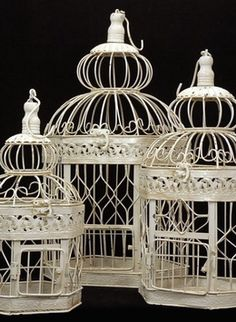 39.00 SALE PRICE! For Victorian flair, use these lovely cream white bird cages in your wedding décor. The decorative bird cages come in a set of three. The l...
