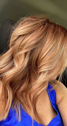 Red Hair With Blonde Highlights, Blonde Hair Red Tips, Blonde Hair With Copper Lowlights, Copper Blonde Hair Color, Copper Blonde Balayage, Ginger Blonde Hair, Auburn Blonde Hair, Reddish Blonde Hair, Ginger Hair Color