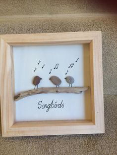 Perfect gift for the music / bird lover in your life. Please note due to the nature of the craft, pebbles and driftwood used may vary slightly from ones shown in the picture. Sea Glass Crafts, Sea Glass Art, Stone Crafts, Rock Crafts, Pebble Stone, Stone Art, Music Painting, Diy Painting, Pebble Painting