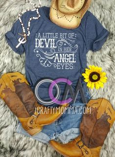 A Little bit of Devil in her Angel Eyes Shirt, Angel Eyes Shirt, Love and Theft Lyric Shirt, Country Concert Shirt- Tshirt Cute Country Outfits, Country Girl Style, Cute N Country, Lyric Shirts, Concert Shirts, Vinyl Shirts, Country Music Shirts, Country Concerts, Best Friend Outfits