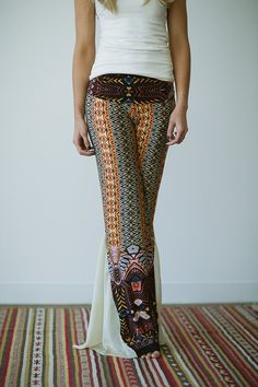 Love these Boho Tribal Flared Pants Bohemian Fold Over Waist by ThreeBirdNest