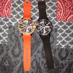 Price is not firm on these Stylish Watches  Diver style watches with silicone bands the dial rotates :) both will need batteries lmk if you have any questions :) happy Poshing! Oh! One is Geneva and the other is Tecno Sport. :) Geneva Accessories Watches