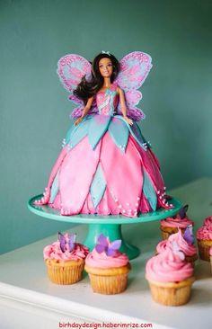 Barbie Fairy cake by Lauren Hawes Fairy Birthday Cake, Barbie Birthday Cake, 1st Birthday Cakes, Barbie Fairy Cake, Barbie Cake, Barbie Party, Dolly Varden Cake, Bolo Barbie, Dragon Cakes
