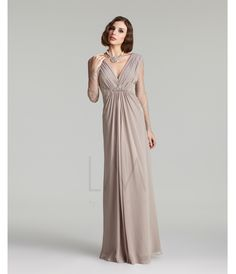 LM Fall Collection 2013- Champagne Lace Sleeved V-Neck Gown - Unique Vintage - Prom dresses, retro dresses, retro swimsuits.