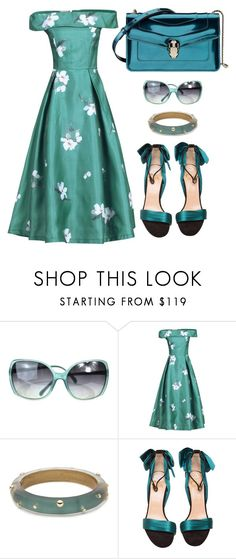 """""""Teal Prom Midi Dress"""" by perizaad ❤ liked on Polyvore featuring Chanel, Jolie Moi, Alexis Bittar, Christian Louboutin and Bulgari"""