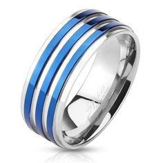 ELEGANT MIRROR POLISHED STAINLESS STEEL BAND RING WITH THREE BEAUTIFUL ION PLATED ROYAL BLUE STRIPES.