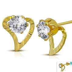 Gold Color Plated Stainless Steel Prongset Circle Open Love Heart Stud Earrings w Clear CZ pair  ERR863 >>> Read more reviews of the product by visiting the link on the image. Note:It is Affiliate Link to Amazon.