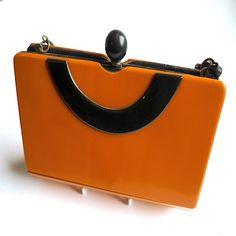 Art Deco Bakelite Clutch bag, c 1940's. Reppined by Nouvelle Bag