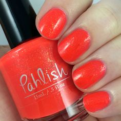 Pahlish - Balneario.  intense neon melon jelly packed with gold metallic flake shimmers
