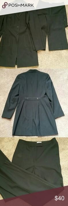Ann Taylor Loft Pants Suit Black Jacket 4 Pants 6 Ann Taylor Loft Pants Suit Black Jacket size 4 Pants size 6. Edges stitched with brown.  Waist 29 inches. Inseam 32 inches.  Perfect condition. No stains or tears.  Look great at the office. Ann Taylor Jackets & Coats