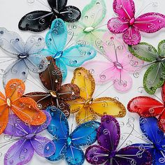 Nylon Organza Glitter Butterflies Table Confetti Chair Sash Cover, 12-pack