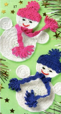 Cute Crochet Snowmen Applique