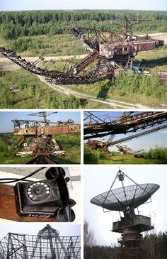 Abandoned Heavy Equipment: It is somewhat hard to imagine how incredibly costly and complex industrial and communications machines could ever be worth abandoning, yet in Russia one finds giant mining contraptions and satellite arrays left largely to succumb to the elements. The giant communications dish above is the size of a soccer field yet sits essentially idle today.