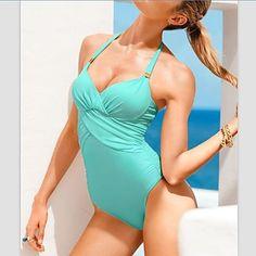 De las mujeres de una sola pieza con tiras de color sólido Sexy Bikini Traje de baño – USD $ 19.79