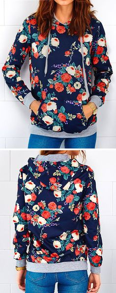 Give hot hug to coming cool fall~ Only $14.99 & amazing casual street style. This floral print sweatshirt features hoodie design, front pocket. So comfy and soft! Shop Now!